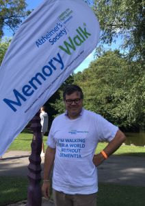 Resident on charity walk for working age dementia.
